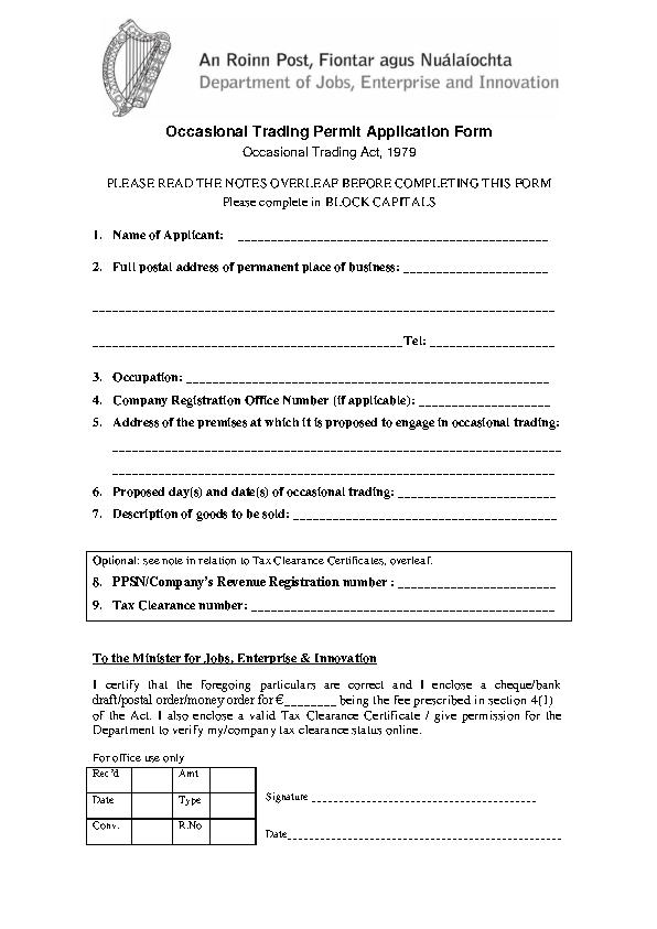 Image depicting item named Occasional Trading Permits Application Form